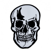 Large 20cm Biker Skull Iron On Patch Goth Deathrock Applique
