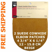 2 pcs pkg Dritz Suede Cowhide Elbow Patches Beige