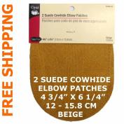 2 pcs pkg Dritz Suede Cowhide Elbow Patches Beige