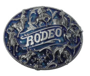 Rodeo Bull Rider Horse Rider Blue/Silver Colour Large Western Rodeo Belt Buckle