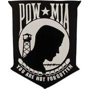 POW MIA White/Black 20cm Patch