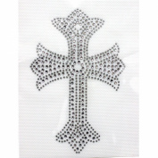 Rhinestone Iron on Transfer Hot Fix Design Silver Cross 3 Sheets 3.5*21cm