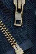 60cm Jacket Zipper Heavy Weight ~ YKK #7 Antique Brass Separating ~ 560 Navy