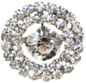 Rhinestone Button BRB-104, 1.9cm Silver Resin Base Button, Each Carded