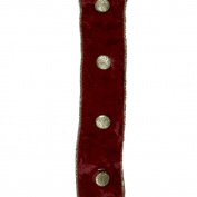 Kurt Adler Metallic Button Velvet Ribbon, 5-Yard, Burgundy