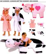 Burda 9643 Pattern, Baby Cute Cow Pig Play Blanket, Toys, Hooded Robe, Bath Glove