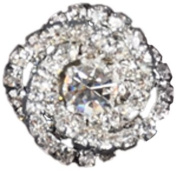 Rhinestone Button BRB-103, 1.9cm Silver Resin Base Button, Each Carded