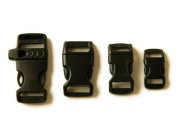 100cm - 1.6cm (Whistle), 1.6cm , 1.3cm , & 1cm Black Side Release Buckles (10 Each) For Paracord Bracelets