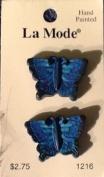 Blue Butterflies - La Mode Hand-Painted Novelty Button, 2-Per Card #1216
