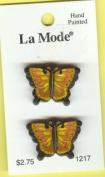 Butterflies - La Mode Hand-Painted Novelty Buttons, 2-Per Card #1217