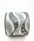 Jo-ann's Holiday Inspirations Modern Grey/white Waves Ribbon,silver Glitter Dots,6.4cm x 12ft.