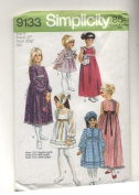 Vintage Simplicity 1970s Girls Long, Midi and Short Dress with Scarf Sewing Pattern #9133