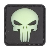 Skull 20mm Glow in the Dark PVC Matrix hook and loop Morale Patch