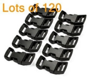 "Top Shop 120 PCS 5/8"" (15mm) Black Contoured Side Release Plastic Buckles with Free Cable Organiser"