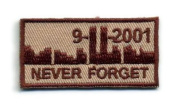 Embrodery 25mm IFF Never Forget 911 Militaryhook and loopReady Patch - TAN