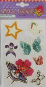 "PACK of 'GLOW In The DARK' IRON ON ""BUTTERFLY, FLOWER & STAR"" STICKERS (Butterflies & Flowers)"