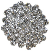 Rhinestone Button BRB-121, 2.5cm Silver Resin Base Button, Each Carded