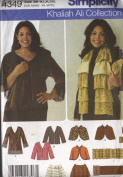 SIMPLICITY PATTERN 4349 KHALIAH ALI COLLECTION JACKETS ,CAPELET, WRAP, SCARF AND PURSE SIZE
