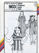Stretch & Sew Pattern 903 ~ Girls' T-Dress and Top ~ Chest 21-27