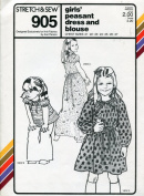 Stretch & Sew Pattern 905 ~ Girls' Peasant Dress and Blouse ~ Chest 21-27