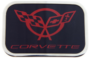 Corvette Logo Red Colour - Black Background with Silver Framed Official Licenced Belt Buckle