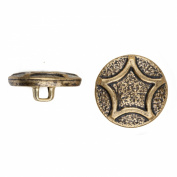 C & C Metal Products 5049 Raised Star Metal Button, Size 30 Ligne, Antique Gold, 36-Pack