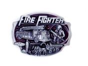 Firefighter Rectangle Logo Pewter Belt Buckle