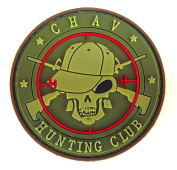 Green Chav Hunting Club hook and loop Back PVC Morale Patch