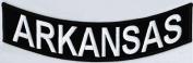 "ARKANSAS10"" x 5.1cm White on Black Back Rocker STATE USA Biker Vest Patch CUS-0043"