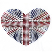 Rhinestone Iron on Transfer Hot Fix Motif Heart Love Deco Fashion Design 3 Sheets 4.1*7.9cm
