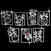 Christmas Reindeer Heads Iron On Hotfix Crystal Diamante T Shirt Motif Patch Gem