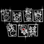 Christmas Reindeer Heads Iron On Hotfix Crystal Diamante T Shirt Motif Patch Gem