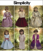 Simplicity Sewing Pattern 2768 46cm Doll Clothes Colonial Victorian Elizabethan For American Girl Dolls
