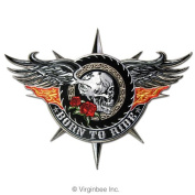 WINGED SKULL BORN TO RIDE FLAMING WINGS TATTOO BIKER JACKET RIDER VEST PATCH FLAMING WINGS TATTOO JACKET VEST PATCH SIZE L