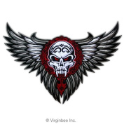 WINGED SKULL WINGS TRIBAL TATTOO BIKER JACKET RIDER VEST EMBROIDERED PATCH SIZE L