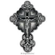 CRUCIFIX EMBROIDERED PATCH LORD JESUS CHRIST CROSS SKULL CHRISTIAN TATTOO SILVER METALLIC PATCH SIZE L