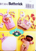 OOP Butterick Cabbage Patch Kids Pattern B5304, Bath Items for 28cm & 36cm Doll. Hooded Bath Towel; Hooded Onesie; Bib; Booties; Bath Mitt; Nappy or Tote Bag