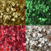 Sequin Christmas Pack ~ 5mm cup facet loose sequins : Red Green Silver Gold ~ Xmas ~ For embroidery, costumes, applique, arts, crafts, and embellishment. Made in USA