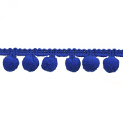 Pompom Fringe 2.5cm Polyester Fringe Rolls for Arts and Crafts, 10-Yard, Navy