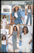 Butterick Fast & Easy Sewing Pattern 4054 - Misses'/misses' Petite Top, Dress, Shorts & Pants - Sizes Xs, S, M