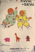 Kwik Sew 1866 Baby Jogging Suits Sizes S-M-L-XL (0 to 18 Mos) Sewing Pattern Vintage Designed for Stretch Knit Only
