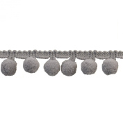 Pompom Fringe 2.5cm Polyester Fringe Rolls for Arts and Crafts, 10-Yard, Grey