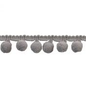 Pompom Fringe 2.5cm Polyester Fringe Rolls for Arts and Crafts, 10-Yard, Grey