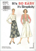 Simplicity Pattern 8560 Skirt Top Vest size A 8-18 Women's