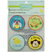 Babyville Boutique 12 Count Monthly Iron-Ons, Gender Neutral Designs