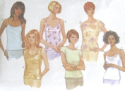 Butterick 5487 Sewing Pattern for Bias or Straight Cut Tops in Tank, Camisole, or Drop Shoulder Shell Styles - Misses 18-20-22