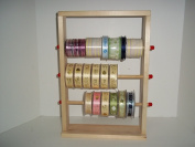 Wood Storage Natural Ribbon Rack Tabletop Curling Spool