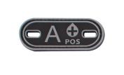 Matrix PVC Oval Blood Type Patch - A POS / Black