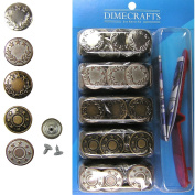 #3 Popular 17mm Bachelor Jean Buttons, Set 50 with Tool