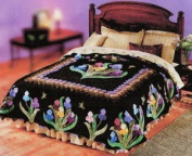 An Iris Garden Lockwood Applique King Quilt Paper Pattern